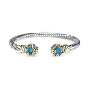 Aquamarine Crystal Silver Cuff Cable Bracelet